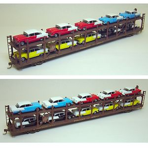 CNW bi-level auto rack with '55 Chevys #2