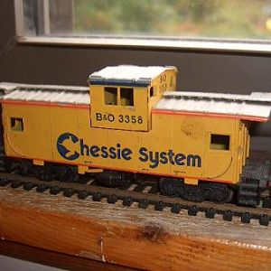 And bringing up the rear, Chessie System B&O Caboose.