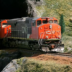 CN 2502 comes out of the tunnel leading the train
