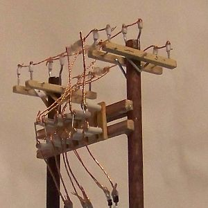 Ho Scale Hand Crafted 2x Armed Voltage Regulator Bank